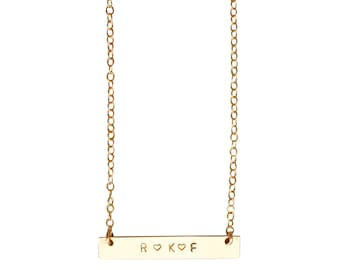 Personalised Gold Nameplate necklace - customised bar pendant - delicate gold necklace
