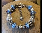 """TEACHER Bracelet in Beautiful Blue  ~  7 3/4"""" European Style"""