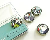 Puffins art magnet set, 4 cute puffin illustration refrigerator magnets