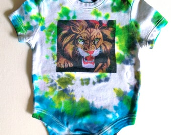 colorful hand dyed tie dye lion onesie. onepiece. 6 months. baby bodysuit. one of a kind. infant. baby shower. newborn. baby clothes. art.
