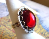 Gorgeous - Vintage Dark Red Glass - Silver Adjustable Ring - Jewelry by HoneyNest