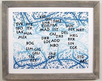 Flight Attendant Gift, Airport Codes, Airport Art, World Map Poster, Airline, Linocut, Travel Decor, Pilot Gift, Aviation Art (Blue)