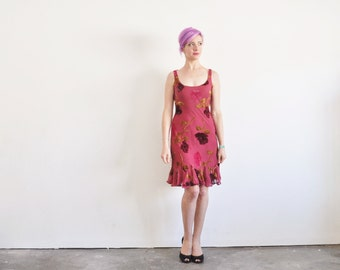 sheer floral velvet dress . 90s Betsey Johnson frock .extra small.small.xs .sale