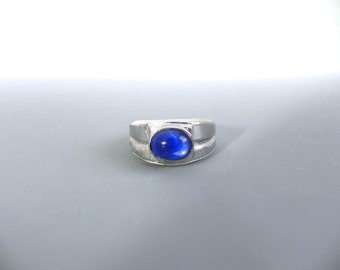 18k hge Vintage 50s Mens Blue Cab Sapphire Ring 12 - Suave Mo Fo Ring