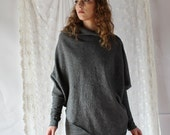 oversized wool pullover poncho sweater or shawl with asymmetrical detail - SHEPARD felted wool range - made to order