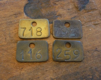 Vintage Brass Tags, Small Rectangle Numbered Basket Library Drawer ID Tags 718 783 116 259