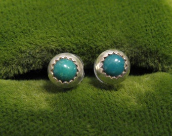Vintage Southwestern Round Sterling Silver Blue Turquoise Sawtooth Stud Post Pierced Earrings