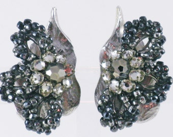 Vintage Original by Robert Glass and Rhinestone Leaf Clip Earrings  (E-2-4)