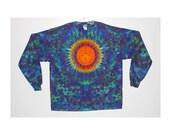 Tie Dye Shirt Sun Rainbow Psychedelic Tye Dye Long Sleeve Adult T-shirt small medium large XL hippie art Grateful Dead L/S