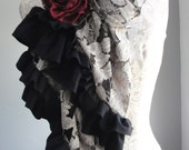 SALE - Large LACE Scarf with rose pin by FAIRYTALE13 - new design - classic cream and black fabrics.