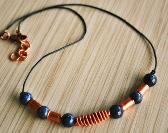 Blue Sapphire and Copper Unisex Necklace