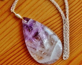 SALE Amethyst necklace, amethyst pendant necklace, big bold chunky necklaces, natural stone necklace, healing jewelry, purple stone necklace