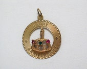 Old vintage 14k 585 gold Happy Anniversary cake candle w/ gem bracelet disc medallion tag charm or necklace pendant fine jewelry