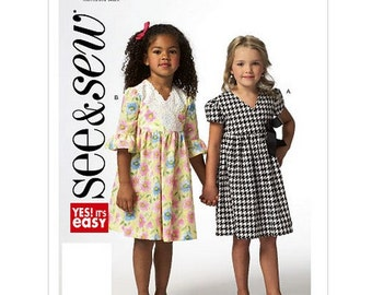 Sew & Make Butterick B5835 SEWING PATTERN - Girls Empire Waist Party Dresses sizes 2-8
