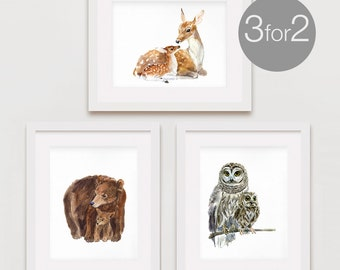 Woodland Nursery Art, Nursery Woodland Art, Nursery Forest Art, Art Print Set, Watercolor Set, Woodland Art Set of 3- for the price of 2