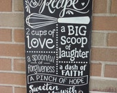 "Kitchen Decor/Family Sign/Our Family Recipe/Kitchen Sign/Home Decor/Kitchen Typography Sign/Rustic/Primitive/DAWNSPAINTING/12"" x 24"""