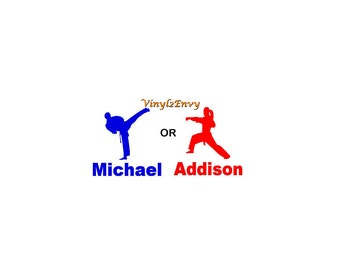 Personalized Karate Decal - Car Decal - Vinyl Car Decal, Window Decal, Karate Girl Decal, Karate Boy Decal, Martial Arts Decal
