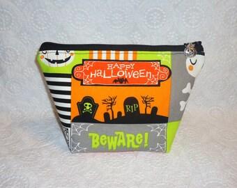 Tombstone Makeup Bag - Halloween Graveyard Zipper Bag