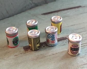 Miniature Beer Cans, Dollhouse Miniatures, 1:12 Scale, Dollhouse Food, Miniature Drinks, Dollhouse Accessory, Mini Cans