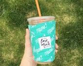 Iced Coffee Cozy - MAMA - Emerald with emerald lining