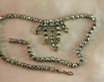 Vintage Rhinestone Aurora Borealis Dangle Strand Blue Green Necklace AB fringe