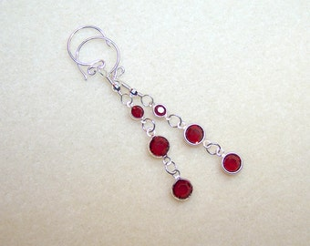 Red Earrings Deep Red Crystal Earings Dark Red Earrings for Women Gift Ideas for Her Long Silver Red Drop Earrings Crystal Jewelry Canada