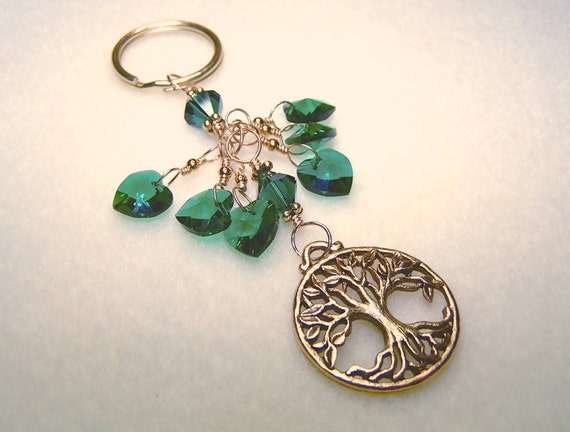 Tree Keychain for Her Emerald Green May Birthstone Heart Key Chain Green Crystal Tree Charm Keychains for Women Gift Ideas for Her