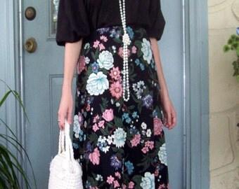 Spring Florals Maxi Skirt - Jersey Skirt - Floral Skirt - Long Skirt - Med- Vintage Oriental Print - Black Floral Skirt Free Ship Princess