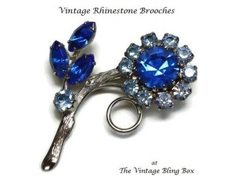 Cornflower Blue Sapphire Flower Brooch with Prong Set Sky Blue Topaz Crystals in Silver Figural Motif - Vintage 40's-50's Costume Jewelry