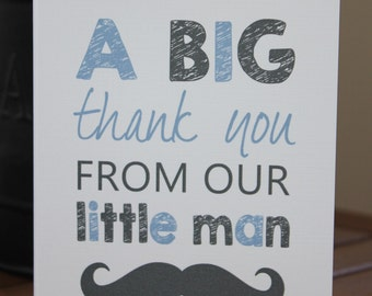 Little Man Moustache Thank You Cards - Baby Shower, Birthday