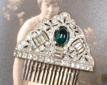 Antique Art Deco Emerald Green Bridal Hair Comb, 1920s Rhinestone Silver Vintage Wedding Dress Clip to OOAK Hairpiece Great Gatsby Headpiece
