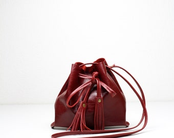 Small Red Bucket Bag, Red Leather Bag, Red Fringe Purse, Festival Bag, Crossbody Purse, Small Red Purse