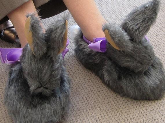 "Grey Rabbit Head Slipper,""Silver Fox"" Unisex Plush Footwear,Made to Measure, Special Unisex Present,Unisex Footwear,Unusual Unisex slippers."