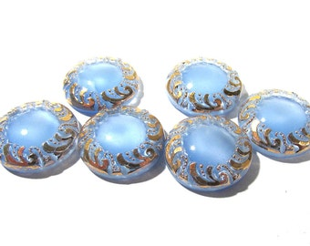Light Blue Moonglow Glass Shankless Buttons West Germany VINTAGE Blue Luster Buttons Six (6) Vintage Buttons Jewelry Sewing Supplies (F133)
