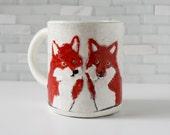 Fox mug | red fox couple woodland | coffee mug tea cup | red black white | original animal mug | wedding love gift | made to order
