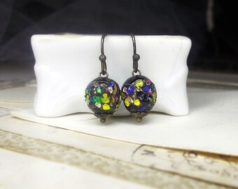 Beaded Earrings - Vintage Bead Earrings - Japan Glass - Colorful Frit on Black - Yellow, Blue, Green Dots - Bumpy Organic Round Single Bead