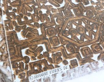 Brown and White Fabric Woodgrain Faux Bois Tiki Island Print One Yard Yardage