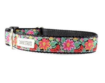 "Hibiscus Flower Dog Collar - Flower Collar - Buckle Collar - Martingale Collar - 1"""