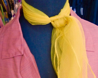 1 Sheer 1950s Sunshine Yellow Rockabilly Scarf #R10 // 50s 60s Sheer Scarf