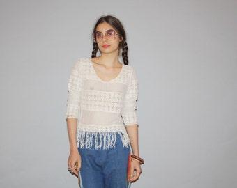 90s Ivory Boho Hippie Crochet Sheer Fringe Festival Women's Top  - Vintage Crochet Top - Women's Fringe Tops - WT0481