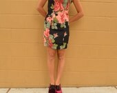 Vintage BETSEY JOHNSON  DRESS Rose Flower Mini Black 90s Dress