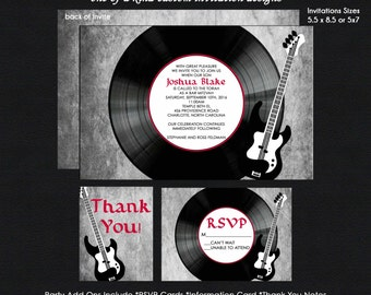 ROCK n ROLL Bar Mitzvah Invitation - Vinyl Record and Guitar - Reply Card - Reception Card - Thank You Note - Use for ANY Event