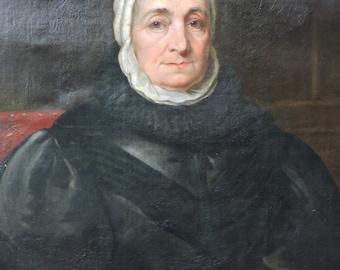 Antique  LARGE Older WOMAN Lady WHITE Cap Black Dress Spectacles in Hand Oil Portrait Painting c1820-30s