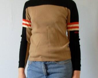 Vintage 1970's khaki and black sweater, HEAD sweater, wool sweater, size medium