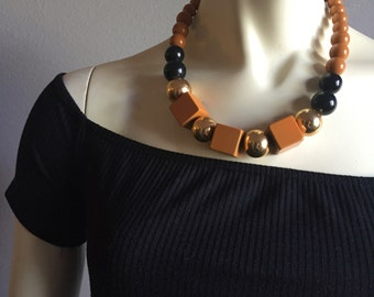 70s geometric sienna black and gold beaded short chain cube square round bead futuristic 1970s vintage necklace costume jewelry one size fun