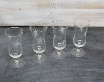 Set of 4 Mid Century Modern Etched Starburst Cocktail Glasses, Atomic Star