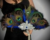 GATSBY PEACOCK FEATHER fan, Flapper Feather Fan, Black And Natural Peacock Fan, Art Deco Fan, Peacock & Crystal Fan, Peacock Wedding Fan
