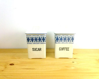 Vintage Ceramic Canister Set / Coffee and Sugar Set / Czech Pottery / Country Kitchen / Blue Diamond Print / Retro Kitchen Decor