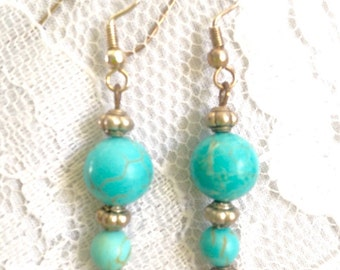 Turquoise Howlite & Sterling Silver -Drop Bead Dangle Earrings - Mid Century Modern - Vintage Inspired