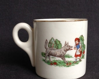 Very vintage little Red Riding Hood cup. Antique Maastricht porcelain home decor.